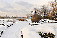 Apple Sculpture by Stephan Weiss, Winter, Snow, Hudson River Park, Greenwich Village,  Manhattan, New York City, New York, USA
