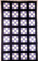 QUILT PATTERNS<br /> (Variations Available)<br /> Traditional Nine Patch Quilt<br /> Using two colors with a high contrast sashing strips and borders.Quilted using echo style quilting (quilting follows the shape of the block).  Quilt is 37&quot; x 61&quot;