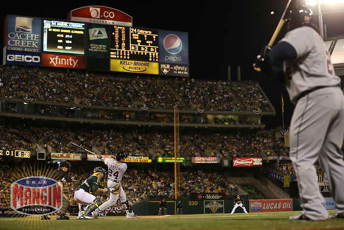 OAKLAND, CA - OCTOBER 4:  Miguel Cabrera of the Detroit Tigers bats against the Oakland Athletics during Game 1 of the ALDS American League Division Series at O.co Coliseum on October 4, 2013 in Oakland, California. Photo by Brad Mangin
