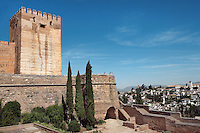 Alcazaba, oldest part of the Alhambra, built in the mid-13th century by the Sultan Alhamar, the founder of the Nasrid dynasty, El Albaicin in the distance, Granada, Andalusia, Spain Picture by Manuel Cohen