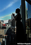 Bat Mitzvah girl and view of Manhattan skyline from the 65th floor of the Mandarin Oriental Hotel..