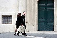 Roma 15 marzo 2013.Montecitorio l'arrivo dei parlamentari alla Camera dei Deputati per l' inizio della XVII legislatura..Sebastiano Barbanti del M5S con la moglie