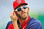 29 May 2011: Washington Nationals outfielder Jayson Werth awaits his turn in the batting cage prior to a game against the San Diego Padres at Nationals Park in Washington, District of Columbia. The Padres defeated the Nationals 5-4 to take the rubber match of their 3-game series. Mandatory Credit: Ed Wolfstein Photo