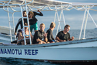 Namotu Island Resort, Nadi, Fiji (Saturday, June 5 2016): The  2016 Fiji  Pro commenced at Cloudbreak this morning in a bumpy 4'-5' swell. Round one was completed as new longer period swell from the West filled in during the day. Round Two was called off as the  wind swung to the NW making the surface the waves very choppy.  Photo: joliphotos.com
