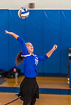 18 October 2015: Yeshiva University Maccabee Right Side and Outside Hitter Ilana Leggiere, a Sophomore from New York, NY, warms up prior to a game against the College of Mount Saint Vincent Dolphins at the Peter Sharp Center, in Riverdale, NY. The Dolphins defeated the Maccabees 3-0 in the NCAA Division III Women's Volleyball Skyline matchup. Mandatory Credit: Ed Wolfstein Photo *** RAW (NEF) Image File Available ***