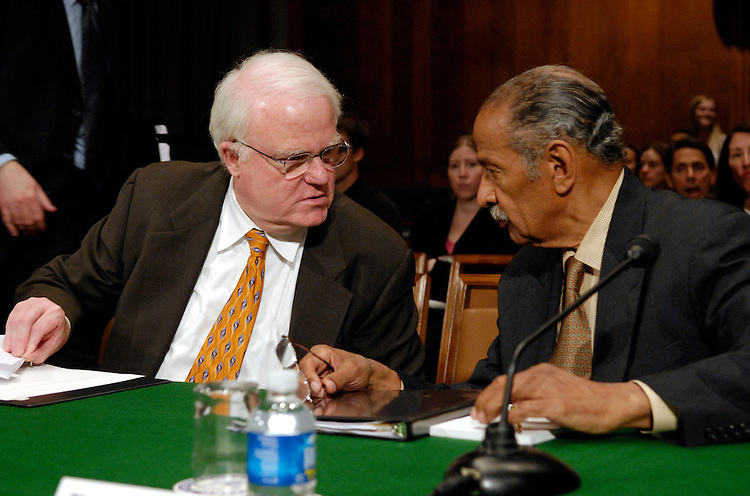 """Rep. James Sensenbrenner Jr., R-Wi., and Rep. John Conyers, Jr., D-Mi., speak before testimony at a Senate Judiciary Committee committee hearing on """"Renewing the Temporary Provisions of the Voting Rights Act: An Introduction to the Evidence.""""."""