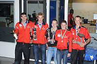 FIERLJEPPEN: IJLST: 15-07-2015, winnaars v.l.n.r. Oane Galama, Sytse Bokma, Marrit van der Wal, Sigrid Bokma, Folkert Veldstra, ©foto Martin de Jong