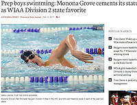 Monona Grove's Ben McDade wins the 200-yard freestyle in 1:43.15 during the WIAA Division 2 boys high school swimming sectional on Saturday, 2/11/17, at Stoughton High School in Stoughton, Wisconsin | Wisconsin State Journal article front page Sports 2/12/17 and online at http://host.madison.com/wsj/sports/high-school/swimming/prep-boys-swimming-monona-grove-cements-its-status-as-wiaa/article_02f3038a-f143-11e6-b91d-83e099c4293b.html