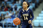 02 January 2015: ETSU's Tianna Tarter. The University of North Carolina Tar Heels hosted the East Tennessee State University Buccaneers at Carmichael Arena in Chapel Hill, North Carolina in a 2014-15 NCAA Division I Women's Basketball game. UNC won the game 95-62.