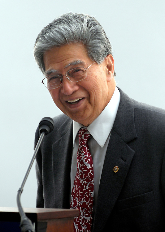 "Sen. Daniel Akaka, D-Hi., gives a briefing on ""Securing the Nation: Recruiting and Retaining Critical Foreign Language Skills in the Federal Government"" in the Hart Senate office building..."