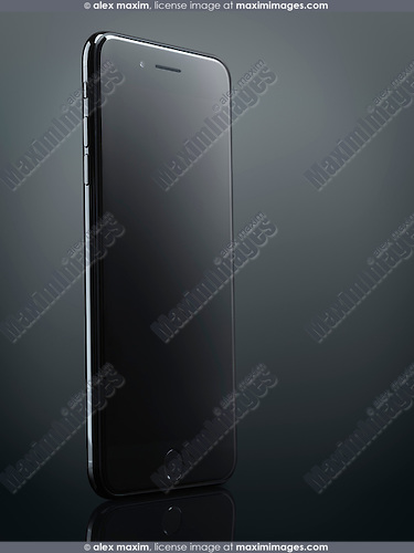 Black Apple iPhone 7 Plus with blank screen isolated on dark gray background with clipping path