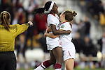 02 December 2011: Stanford's Chioma Ubogagu (left) celebrates scoring the first goal of the game with Kristy Zurmuhlen (right). The Stanford University Cardinal played the Florida State University Seminoles at KSU Soccer Stadium in Kennesaw, Georgia in an NCAA Division I Women's Soccer College Cup semifinal game.