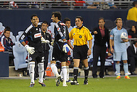 Victor Hugo Hernandez (23) comes into the game for Luis Ernesto Michel as Chivas Guadalajara goalkeeper... Sporting Kansas City and Chivas Guadalajara played to a 2-2 tie in an international friendly at LIVESTRONG Sporting Park, Kansas City, Kansas.