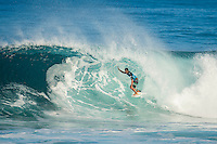 PIPELINE, Oahu, Hawaii (Sunday, December 8, 2013) Kaimana Jaquias (HAW). - The opening day of the Billabong Pipe Masters, in Memory of Andy Irons, commenced today in firing six-to-eight foot (2 metre) waves and the world's best surfers put on an incredible display of technical barrel riding at Pipeline and Backdoor to complete Rounds 1 and 2. The Billabong Pipe Masters is the third and final leg of the Vans Triple Crown of Surfing.<br /> <br /> The final stop on the ASP World Championship Tour (WCT), the Billabong Pipe Masters will decide the 2013 ASP World Title Race, the coveted Vans Triple Crown of Surfing Champion and the final qualification slots for next season's Top 34. <br /> Gabriel Medina (BRA), 19, would put together an amazing show at the iconic lefts of Pipeline to kick off the Billabong Pipe Masters, navigating through a heavy barrel on his opening score to post a near-perfect 9.67. The Brazilian Prodigy would quickly back up the ride, earning an additional 9 point score for another deep Pipe tube punctuated with a massive alley-oop, eliminating Bruce Irons (HAW), 34. Medina's unlikely aerial at Pipeline puts him in the running for a 250,000 mile prize from   Hawaiian Airlines Airshow award.<br /> Sebastian Zietz (HAW), 25, defending Vans Triple Crown of Surfing Champion, immediately found his rhythm at Pipeline, earning the first perfect 10-point ride of Billabong Pipe Masters competition for an unbelievable Backdoor barrel.<br /> Photo: joliphotos.com