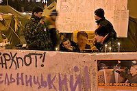Kiev, Ukraine, 28/12/2004..The third and final round of Ukraine's disputed Presidential election. Supporters of candidate Viktor Yushchenko camped out in the city centre streets.
