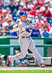 1 June 2014: Texas Rangers outfielder Dan Robertson connects during a game against the Washington Nationals at Nationals Park in Washington, DC. The Rangers shut out the Nationals 2-0 to salvage the third the third game of their 3-game inter-league series. Mandatory Credit: Ed Wolfstein Photo *** RAW (NEF) Image File Available ***