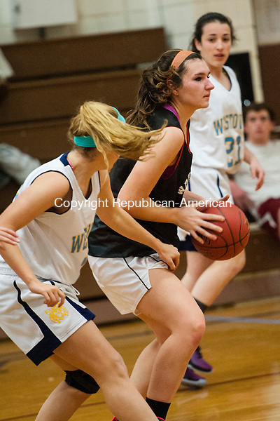 WOODBURY, CT-2 December 2014-120214EC08-  Watertown's Abby Collier looks to pass during a scrimmage with Westover and Nonnewaug in Woodbury Tuesday. Erin Covey Republican-American
