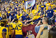 Landover, MD - SEPT 24, 2016: West Virginia Mountaineers players celebrate with the fans following their 35-32 win against BYU at FedEx Field in Landover, MD. (Photo by Phil Peters/Media Images International)