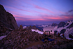 Sunset over an alpine camp in the coast range of British Columbia, Canada.
