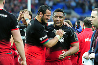 Juan Figallo and Mako Vunipola of Saracens celebrate at the final whistle. European Rugby Champions Cup Final, between Saracens and Racing 92 on May 14, 2016 at the Grand Stade de Lyon in Lyon, France. Photo by: Patrick Khachfe / Onside Images