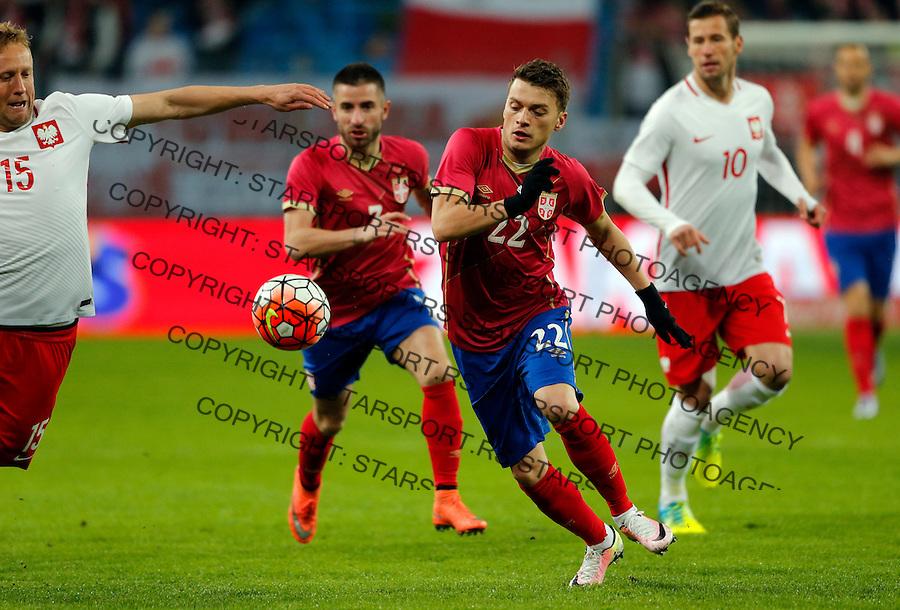 Adem Ljajic Poljska - Srbija prijateljska, Poland - Serbia friendly football match, March 23. 2016. Poznan  (credit image & photo: Pedja Milosavljevic / STARSPORT)