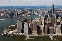 aerial photograph lower Manhattan, east river waterfront, Whitehall Terminal South Ferry, New York City