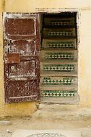 Staircase with tiles, Fez Medina, Morocco.