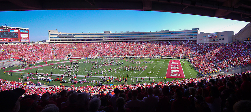 The University of Wisconsin Badger football teams playing at Camp Randall Stadium in Madison, Wisconsin.