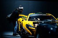 A woman watches the McLaren P1 GTR during the International Auto Show 2015 in New York. 04.06.2015. Eduardo MunozAlvarez/VIEWpress.