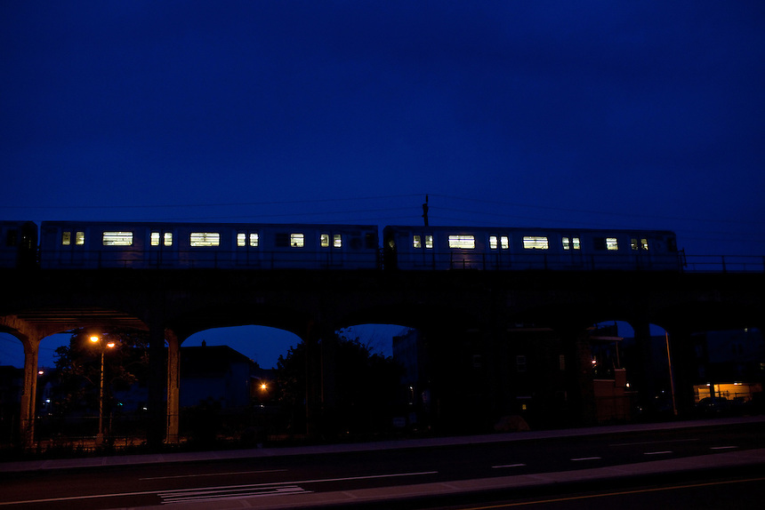 The A train goes through the Brooklyn community of Averne near Rockaway beach in New York on June 24, 2012.