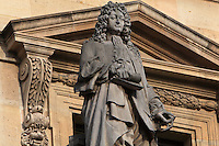 Statue of Jean Racine, 1639-1699, playwright, by Michel-Pascal at the Colbert Wing, in the Cour Napoleon at the Musee du Louvre, Paris, France. A series of 86 statues of famous men were placed in this courtyard 1853-57 under the architects Louis Visconti and Hector Lefuel. Picture by Manuel Cohen