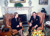 "Washington, DC - (FILE) -- United States President Ronald Reagan meets Prime Minister Margaret Thatcher of Great Britain for the first time as President in the Oval Office of the White House in Washington, D.C. on Thursday, February 26, 1981..Credit: Benjamin E. ""Gene"" Forte / CNP"