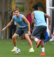 Sebastian Coates of Uruguay trains in the Arena Corinthians, Sao Paulo ahead of his sides Group D crunch fixture vs England tomorrow, Coates is set to replace Diego Lugano who misses out through injury