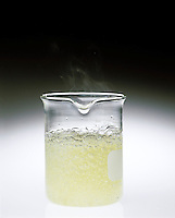 ZINC IN HYDROCHLORIC ACID<br /> (2 of 3)<br /> Forming Zinc Chloride &amp; Hydrogen Gas<br />  Zn(s) + 2H+(aq) = Zn2+(aq) + H2(g): Zinc is oxidized -loses electrons. Hydrogen is reduced -gains electrons.