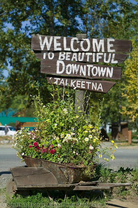 Welcome to downtown sign, Talkeetna, Alaska
