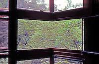 F.L. Wright: Fallingwater. Window of corner bedroom.  Photo '76.