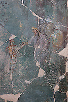 Detail of the fresco panel of Andromeda freed by Perseus, with King Cepheus of Ethiopia, Andromeda's father, welcoming her hero, in the triclinium of the Casa del Sacerdos Amandus, or House of the Priest Amandus, Pompeii, Italy. The fresco is in the Third Style of Roman wall painting, 20–10 BC, characterised by an ornamental elegance in figurative and colourful decoration. Pompeii is a Roman town which was destroyed and buried under 4-6 m of volcanic ash in the eruption of Mount Vesuvius in 79 AD. Buildings and artefacts were preserved in the ash and have been excavated and restored. Pompeii is listed as a UNESCO World Heritage Site. Picture by Manuel Cohen