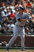 SAN FRANCISCO, CA - APRIL 27:  Corey Seager #5 of the Los Angeles Dodgers bats against the San Francisco Giants during the game at AT&T Park on Thursday, April 27, 2017 in San Francisco, California. (Photo by Brad Mangin)
