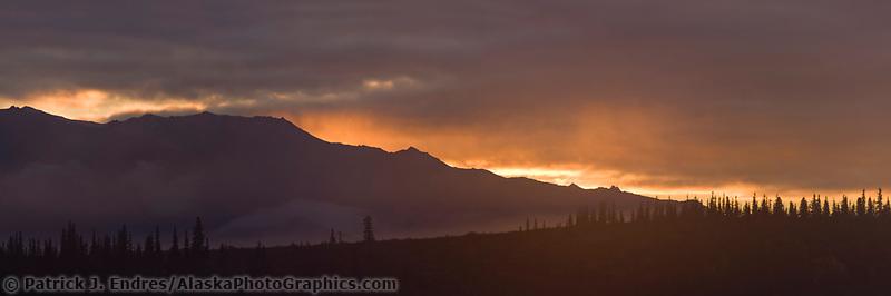 Sunrise over the Alaska range mountains, Denali National Park, interior, Alaska.