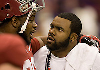 Mark Ingram of New Orleans Saints talks with Josh Chapman of Alabama before BCS National Championship game against LSU at Mercedes-Benz Superdome in New Orleans, Louisiana on January 9th, 2012.   Alabama defeated LSU, 21-0.