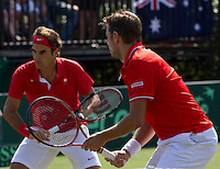 Royal Sydney Golf Club, Sydney, Australia v Switzerland Davis Cup 17/09/2011.Roger Federer (SUI) and Stanlinas Wawrinka(SUI) first rubber.Photo:  Frey Fotosports International / AMN Images