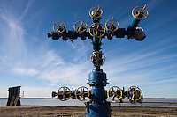 Yamal Peninsula, Russia, 08/07/2010..A completed well-head in the Gazprom Yamal Bovanenkovo gasfield project.