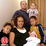 WATERBURY, CT- 01 JANUARY 2006-0101067JS03-Juan Arroyo, of Waterbury, and his wife Sheila welcomed their new baby Nailah Lianne Arroyo into the world at 12:22 a.m. on New Years Day at Waterbury Hospital. Along with Nailah, the Arroyo's have three children Mia, 4, left,  Juan Jr. 6, right, and Lilanie 21-months. <br /> Jim Shannon/Republican-American