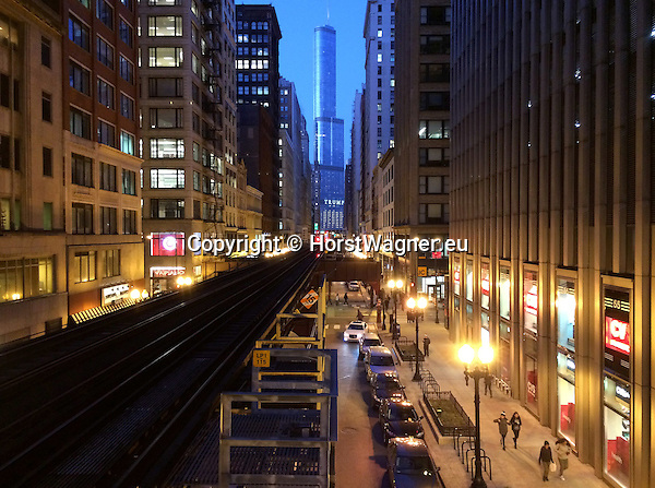 "Chicago, Illinois, United States of America / USA; December 27, 2016 -- Wabash Avenue with viaduct for Chicago ""L"" (short for ""elevated""), the rapid transit system; Trump Tower in the back -- Photo: © HorstWagner.eu"