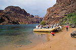 Rafting, no model release, on the Colorado River below Hoover Dam on border of Arizona, AZ, Nevada, NV, tourism, vacation, sports, Beach, sky, water, mountain, landscape, image nv434-18489.Photo copyright: Lee Foster, www.fostertravel.com, lee@fostertravel.com, 510-549-2202