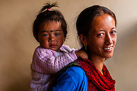 A mother and daughter in Tangtse, Ladakh, Jammu and Kashmir State, India.