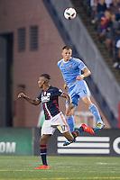 Foxborough, Massachusetts - September 10, 2016:  The New England Revolution (blue and white) beat New York FC  (lt. blue) 3-1 in a Major League Soccer (MLS) match at Gillette Stadium