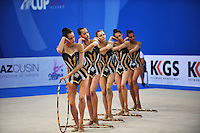 Rhythmic group from Bulgaria performs with 5-hoops at 2010 Pesaro World Cup on August 28, 2010 at Pesaro, Italy.  Photo by Tom Theobald.