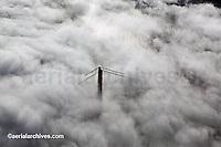 aerial photograph Golden Gate bridge fog, San Francisco, California