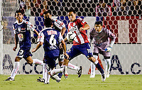 Chivas USA forward Jesus Padilla (10) attempts to turn and shoot while being marked by Pachuca FC players. USA Chivas USA defeated Pachuca FC 1-0 during 2010 SuperLiga group play at Home Depot Center stadium in Carson, California Wednesday July 21, 2010.